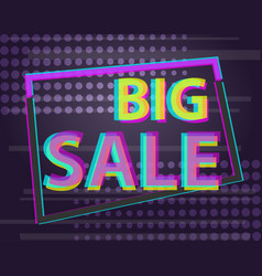 sale discount poster or banner with glitch text vector image