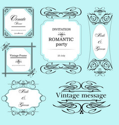 Set of ornate frames and ornaments with sample vector
