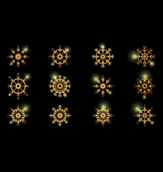 set of realistic bright gold snowflakes vector image