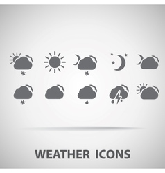 Set of weather icons - silhouette vector image