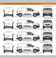 Set standard l1 cargo mini vans 2018 vector
