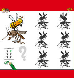 Shadow activity game with cartoon insects vector