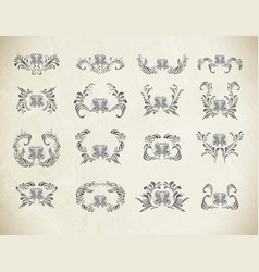 silver floral ornament isolate vector image