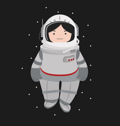 Small girl astronaut helmet in a space vector