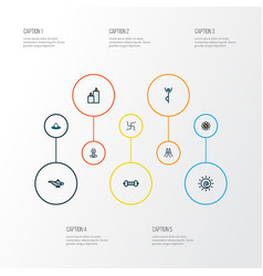 Spiritual icons colored line set with dumbbell vector