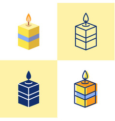 square candle icon set in flat and line style vector image