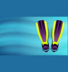 Swimming flippers under the water vector