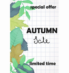 the autumn sale poster with fallen leaves and vector image