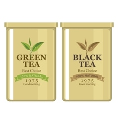 Tin can with label of black and green tea vector