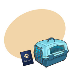 travel with cats dogs - blue plastic carrier and vector image