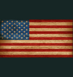 Usa american flag painted on old wood plank vector