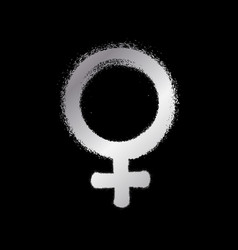 Venus planet sign silver paint sprayed icon vector