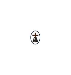 vintage hand hold jesus christian cross badge vector image