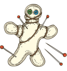 Voodoo doll with pins vector