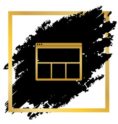 Web window sign golden icon at black spot vector