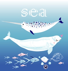 whales in the sea vector image