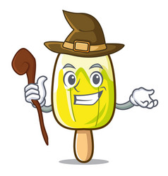 Witch lemon ice cream mascot cartoon vector