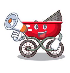 With megaphone cartoon baby stroller walk in the vector