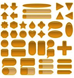 wood glass buttons set vector image vector image