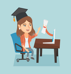 Young graduate getting diploma from the computer vector