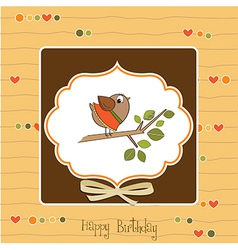 birthday greeting card with funny little bird vector image vector image