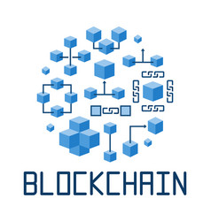 blockchain technology in round shape vector image vector image