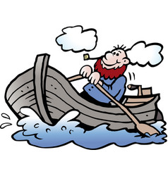 Cartoon of a fisherman in his rowboat vector