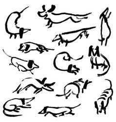 hand drawn doodle dachshund dogs set vector image