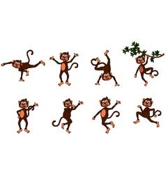 cute monkey cartoon collection vector image vector image