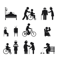 Elderly care icons vector image