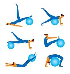Fitnees icons with ball vector image