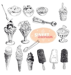 Hand drawn set with ice Cream vector image vector image
