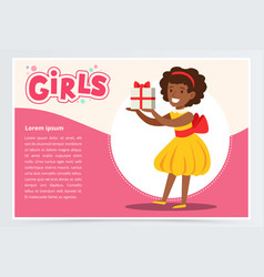 happy african girl holding gift box cute kid vector image