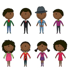 Modern elegant African-American young people vector image vector image