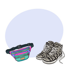 personal items from 90s - zebra patterned sneakers vector image vector image