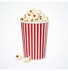 Popcorn in red and white cardboard box for cinema vector image