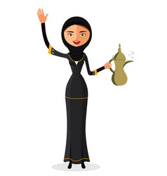 Woman holding an coffee pot and waving her hand vector