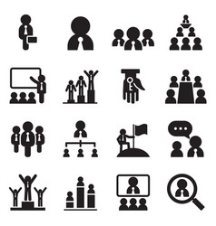 business management teamwork icons set vector image vector image