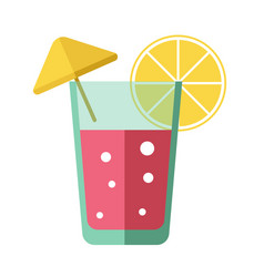 fresh pink cocktail with lemon slice and yellow vector image
