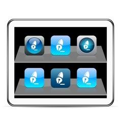Pen blue app icons vector image vector image
