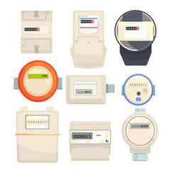 set of meters mechanical and electronic counters vector image vector image