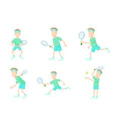 tennisman icon set cartoon style vector image