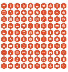 100 heating icons hexagon orange vector