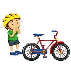 Boy wearing helmet before riding bike vector image vector image