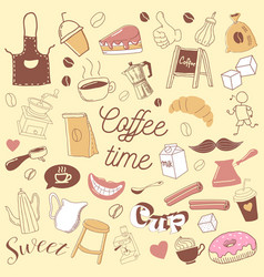 coffee time hand drawn doodle coffe beans vector image vector image