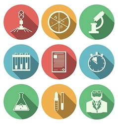 Flat icons for microbiology vector image