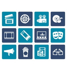 Flat Movie theatre and cinema icons vector image vector image