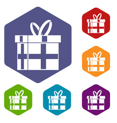 gift in a box icons set vector image