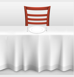 table with a tablecloth and chair vector image