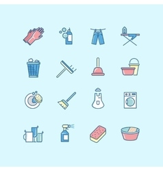 Washing cleaning laundry line color icons vector image vector image